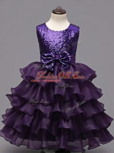 Dark Purple Ball Gowns Organza Scoop Sleeveless Ruffled Layers and Sequins Tea Length Zipper Child Pageant Dress