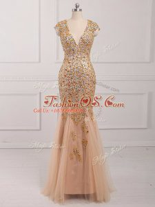 Custom Made Champagne Mermaid Tulle V-neck Cap Sleeves Beading Backless Teens Party Dress
