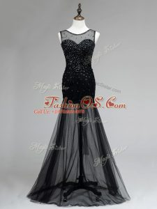 Wonderful Tulle Scoop Sleeveless Backless Beading Prom Gown in Black