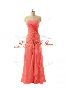 Watermelon Red Sleeveless Floor Length Hand Made Flower Zipper Bridesmaid Gown