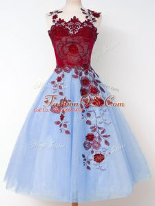 Sleeveless Knee Length Appliques Lace Up Bridesmaids Dress with Blue
