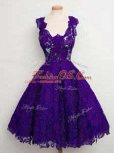 Knee Length A-line Sleeveless Purple Bridesmaid Gown Lace Up