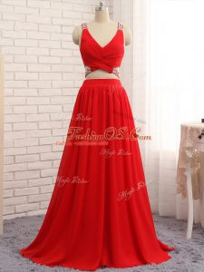 Luxurious Red Party Dress for Girls Chiffon Brush Train Sleeveless Beading