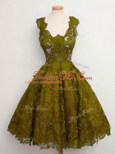 Knee Length Lace Up Wedding Party Dress Olive Green for Prom and Party and Wedding Party with Lace