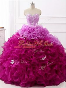 Luxurious Sleeveless Brush Train Lace Up Beading and Appliques and Ruffles Quince Ball Gowns