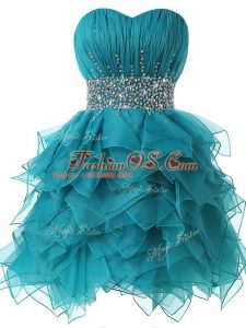 Spectacular Teal Lace Up Military Ball Dresses Beading and Ruffles and Ruching Sleeveless
