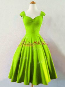 Great Yellow Green Lace Up Bridesmaids Dress Ruching Sleeveless Mini Length