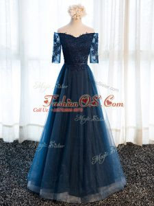 Tulle V-neck Half Sleeves Lace Up Beading and Lace and Appliques Mother Of The Bride Dress in Navy Blue