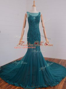 Customized Court Train Mermaid Celebrity Dress Teal Scoop Tulle Sleeveless Zipper
