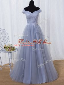 Lavender Lace Up Off The Shoulder Ruching and Belt Prom Dresses Tulle Sleeveless
