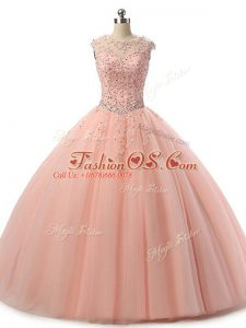 Pretty Peach Lace Up Scoop Beading and Lace Quinceanera Dress Tulle Sleeveless