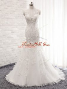 Inexpensive White V-neck Clasp Handle Lace Wedding Dress Brush Train Sleeveless