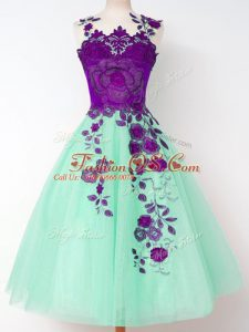 Colorful Apple Green Straps Neckline Appliques Wedding Party Dress Sleeveless Lace Up