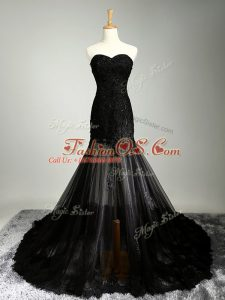 Amazing Black Sleeveless Beading and Appliques Womens Party Dresses