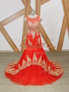 Fitting Beading and Lace and Appliques Homecoming Dress Coral Red Zipper Sleeveless Brush Train