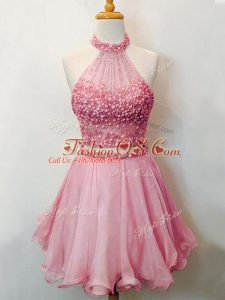 Charming Pink Sleeveless Organza Lace Up Bridesmaid Dress for Prom and Party and Wedding Party