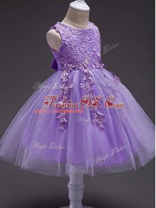 Lavender Ball Gowns Lace and Belt Girls Pageant Dresses Zipper Tulle Sleeveless Knee Length