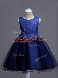 Lace Little Girl Pageant Gowns Navy Blue Zipper Sleeveless Knee Length
