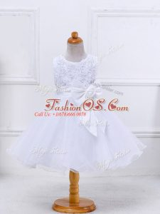 Latest White Ball Gowns Bowknot Little Girl Pageant Gowns Zipper Organza Sleeveless Mini Length