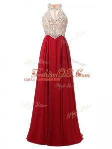 Floor Length Wine Red Prom Evening Gown Chiffon Sleeveless Beading