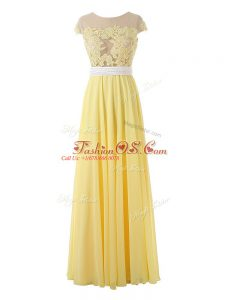 Yellow Side Zipper Scoop Lace and Appliques Homecoming Dress Organza Sleeveless
