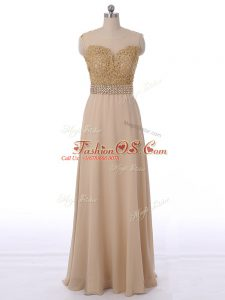 Champagne Chiffon Zipper Scoop Sleeveless Floor Length Dama Dress for Quinceanera Beading