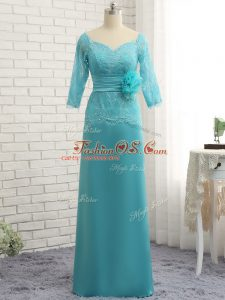 Chiffon Sweetheart 3 4 Length Sleeve Zipper Lace and Appliques Mother Of The Bride Dress in Baby Blue