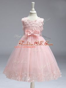 Baby Pink Scoop Neckline Lace and Bowknot Little Girl Pageant Gowns Sleeveless Zipper