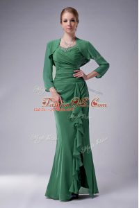 Colorful Green Sleeveless Beading Floor Length Mother Of The Bride Dress