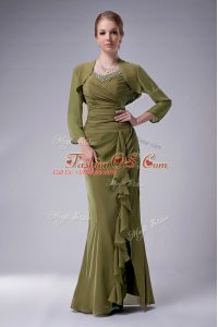 Olive Green Chiffon Zipper Straps Sleeveless Floor Length Mother Of The Bride Dress Beading