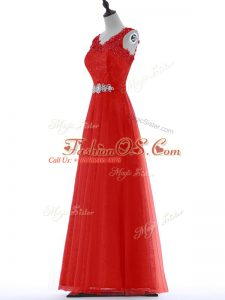 Custom Made Red Zipper Dress for Prom Beading and Lace Sleeveless Floor Length