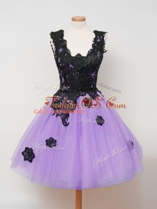 Delicate Lilac Bridesmaid Dresses Prom and Party and Wedding Party with Appliques Straps Sleeveless Zipper