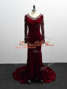 New Arrival Burgundy V-neck Zipper Beading Mother Of The Bride Dress Brush Train Long Sleeves