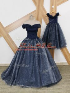 Navy Blue A-line Off The Shoulder Sleeveless Tulle Brush Train Lace Up Ruching Dress for Prom