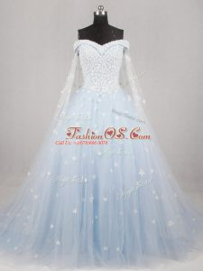 Customized A-line Sleeveless Light Blue Bridal Gown Watteau Train Lace Up