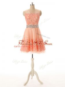 Peach Sleeveless Tulle Zipper for Prom and Party and Sweet 16