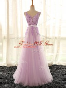 Floor Length Lilac Wedding Guest Dresses Tulle Sleeveless Appliques