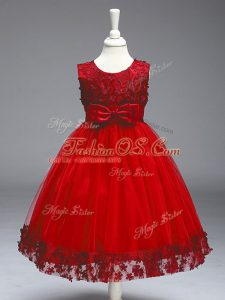 Red Sleeveless Tea Length Appliques and Bowknot Zipper Pageant Gowns For Girls