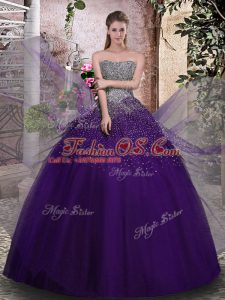 Purple Sleeveless Floor Length Beading Lace Up 15 Quinceanera Dress