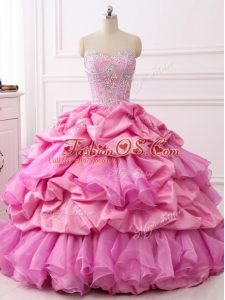 Great Rose Pink Ball Gowns Beading and Ruffles and Pick Ups Ball Gown Prom Dress Lace Up Organza and Taffeta Sleeveless Floor Length