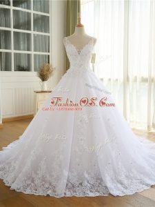 Great White V-neck Neckline Lace and Appliques Wedding Gown Sleeveless Lace Up