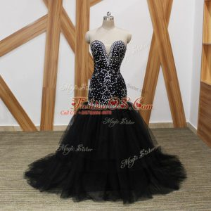 Sleeveless Brush Train Lace Up Beading Red Carpet Gowns