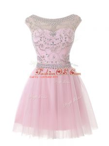 Traditional Scoop Sleeveless Tulle Beading Zipper