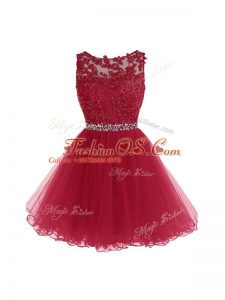 Burgundy Sleeveless Beading and Lace and Appliques Mini Length Cocktail Dress