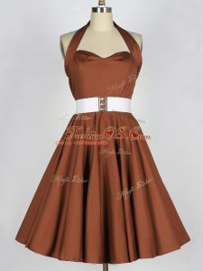 Brown A-line Belt Quinceanera Court Dresses Zipper Taffeta Sleeveless Knee Length