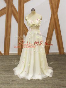 Custom Designed Sleeveless Floor Length Hand Made Flower Lace Up Prom Dresses with Champagne