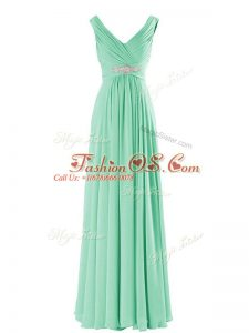 Glittering Floor Length Apple Green Bridesmaid Dresses V-neck Sleeveless Zipper