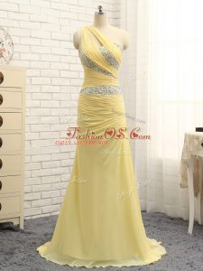 Artistic Yellow One Shoulder Neckline Beading and Ruching Party Dress for Toddlers Sleeveless Zipper