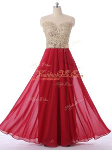 Sleeveless Chiffon Floor Length Zipper Court Dresses for Sweet 16 in Red with Beading