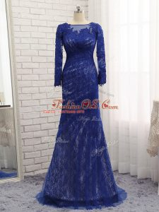 Gorgeous Blue Tulle Zipper Bateau Long Sleeves Mother Of The Bride Dress Brush Train Lace